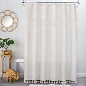 OpalHouse Cloth Cream CrochetTassle Shower Curtain